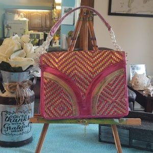 melie bianco Metallic pink and gold color weaved